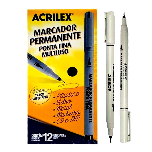 MARCADOR PERMANENTE PRETO PONTA FINA 0,4mm ACRILEX - CAIXA COM 12UN
