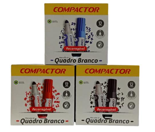 PINCEL MARCADOR PARA QUADRO BRANCO COMPACTOR REGARREGAVEL - CAIXA COM 12UN