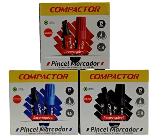 PINCEL MARCADOR PERMANENTE COMPACTOR RECARREGAVEL - CAIXA COM 12UN