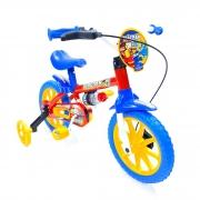 Bicicleta Nathor Infantil Aro 12 Masculino Fireman Vermelho_Azul_Amarelo