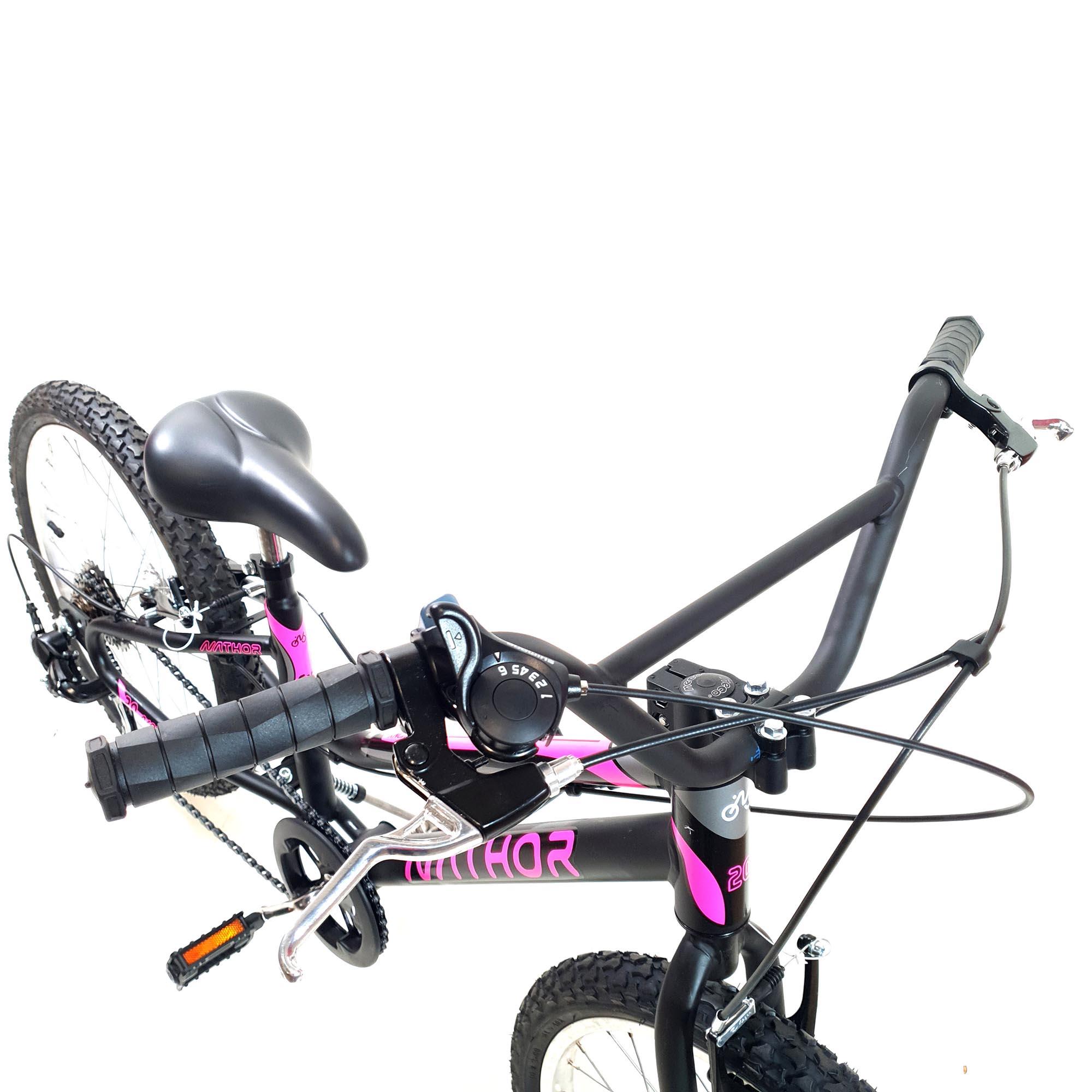 Bicicleta Nathor Aro 20 Aço Feminina Harmony com Marcha Preto_Rosa