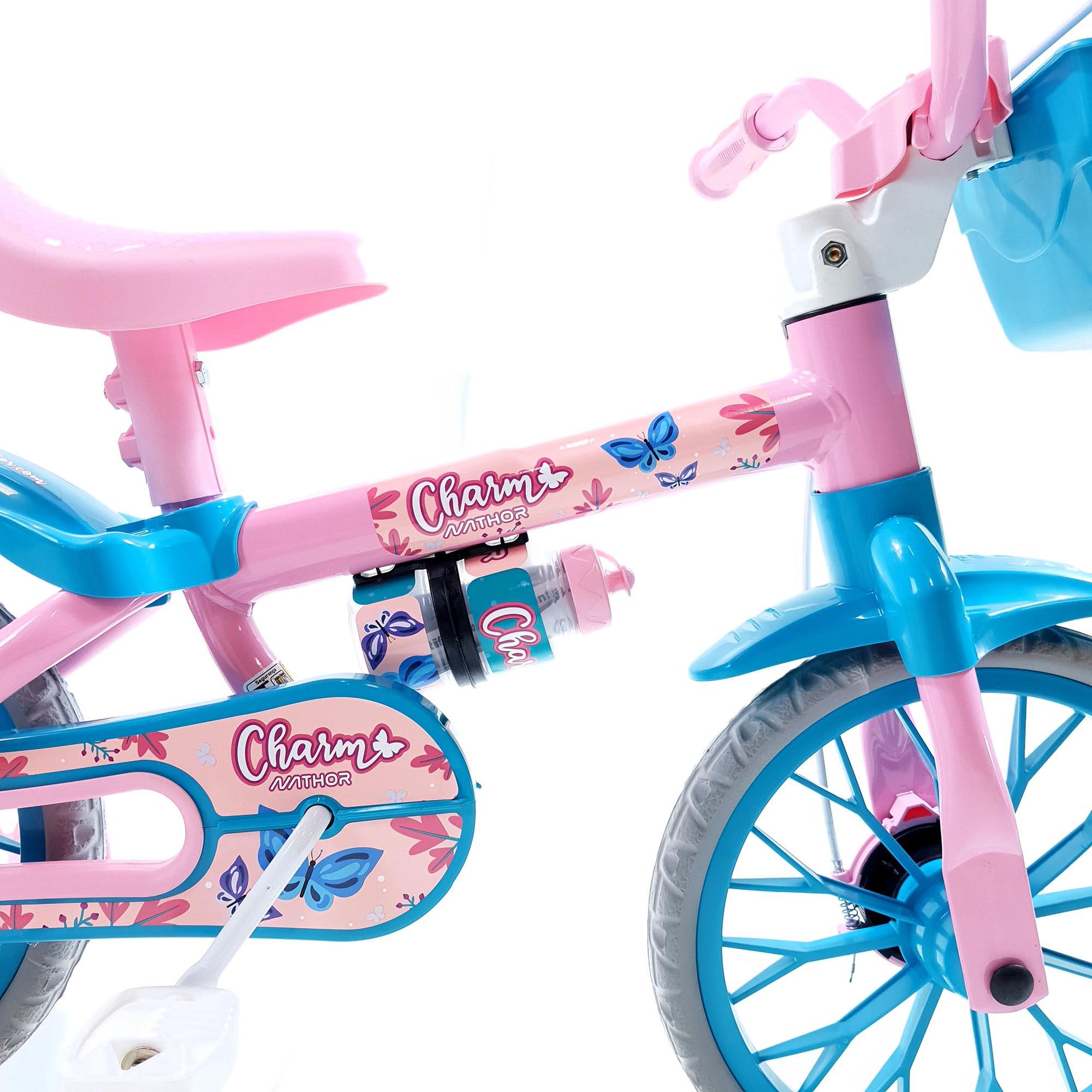 Bicicleta Nathor Infantil Aro 12 Feminina Charm Rosa_Azul