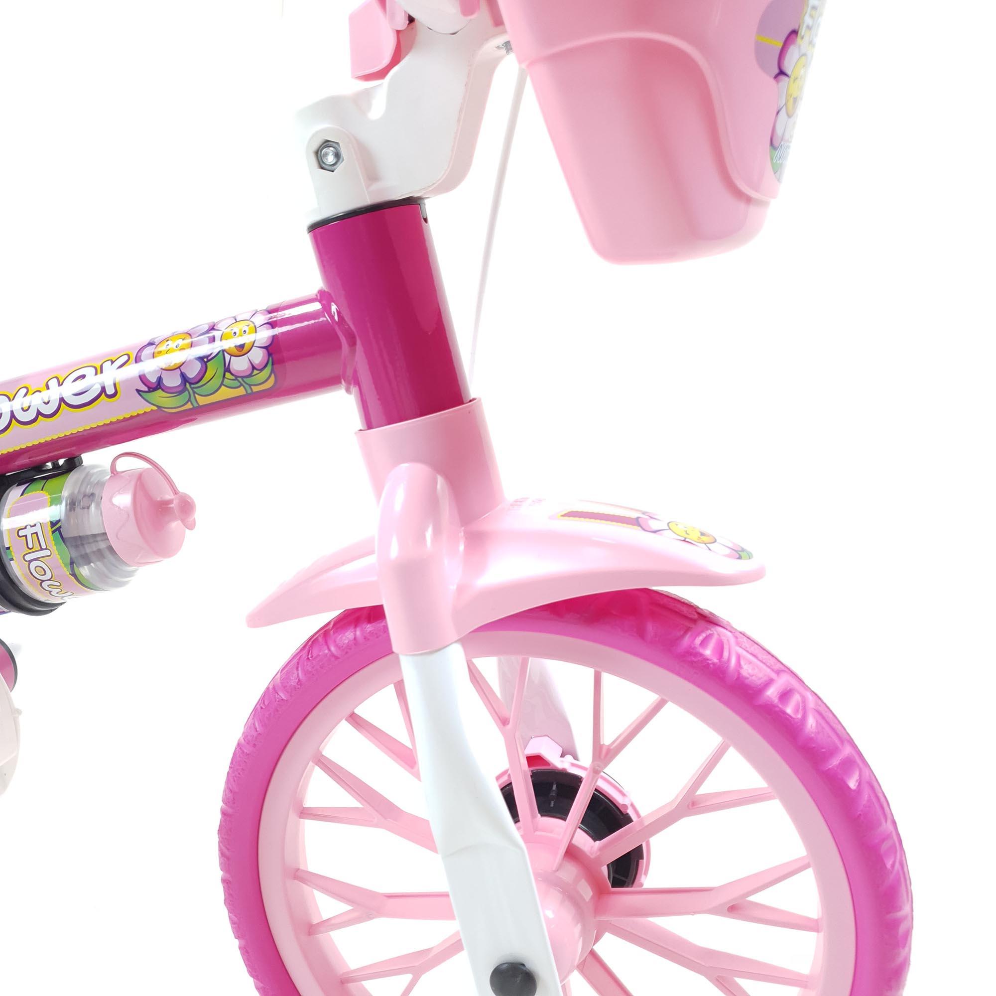 Bicicleta Nathor Infantil Aro 12 Feminina Flower Rosa