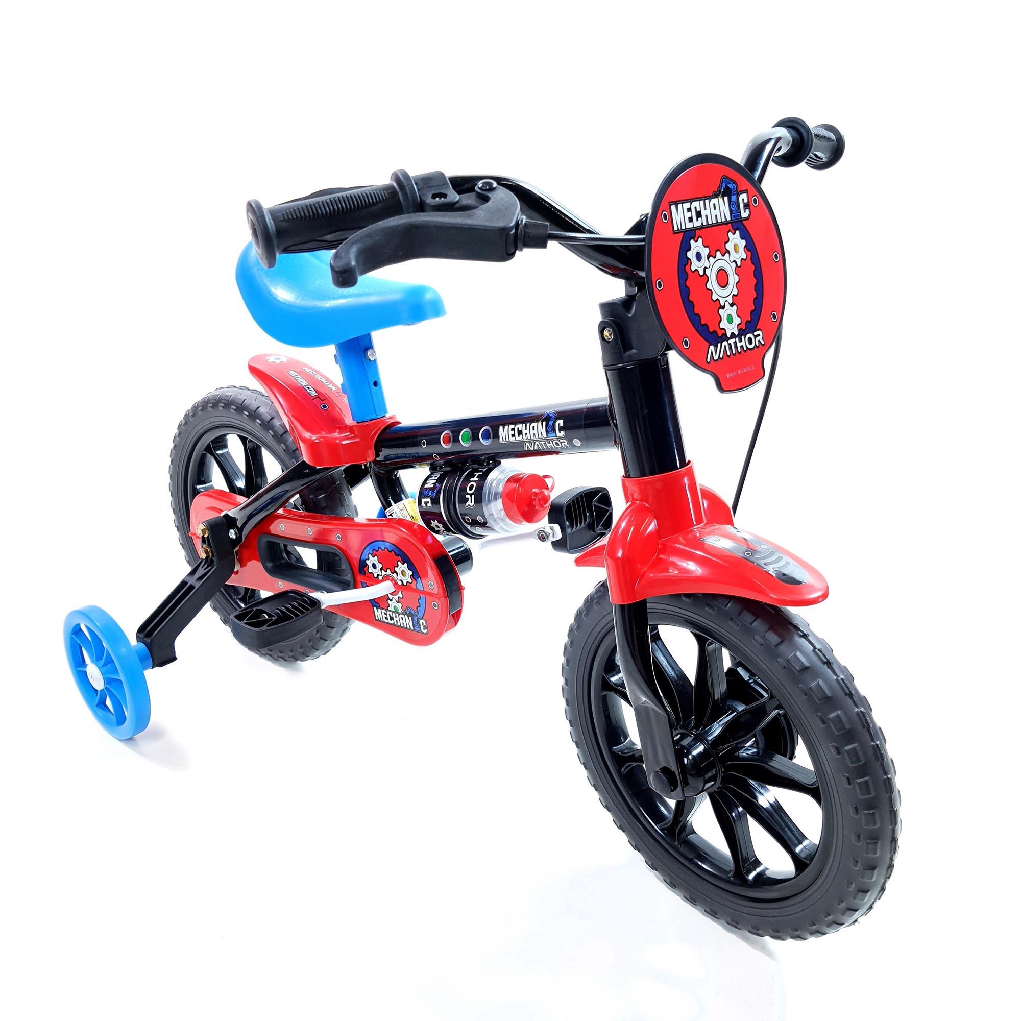Bicicleta Nathor Infantil Aro 12 Masculino Mechanic Preto_Azul_Vermelho