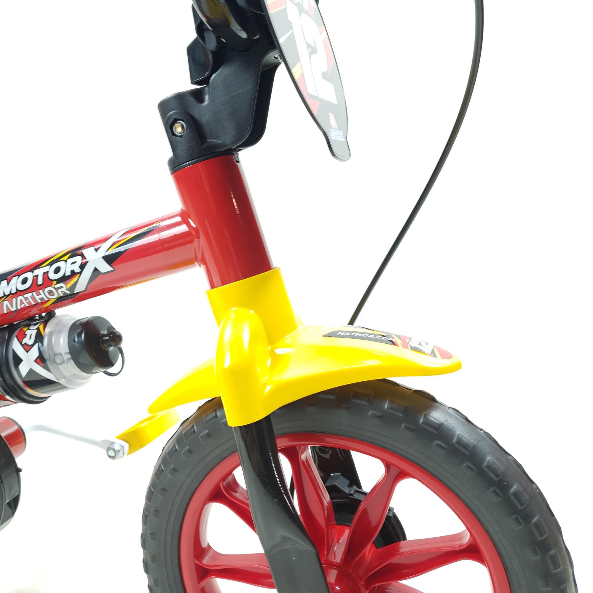 Bicicleta Nathor Infantil Aro 12 Masculino Motor x Selim Pu Vermelho_Preto