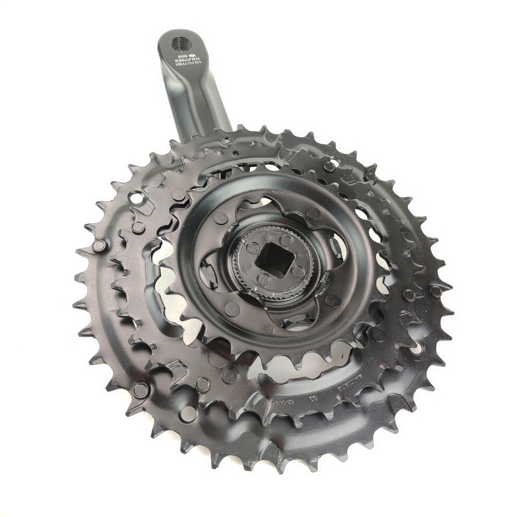 Pedivela Bike Triplo Shimano Engrenagem 24_34_42 Ty-301 8v Preto 170mm