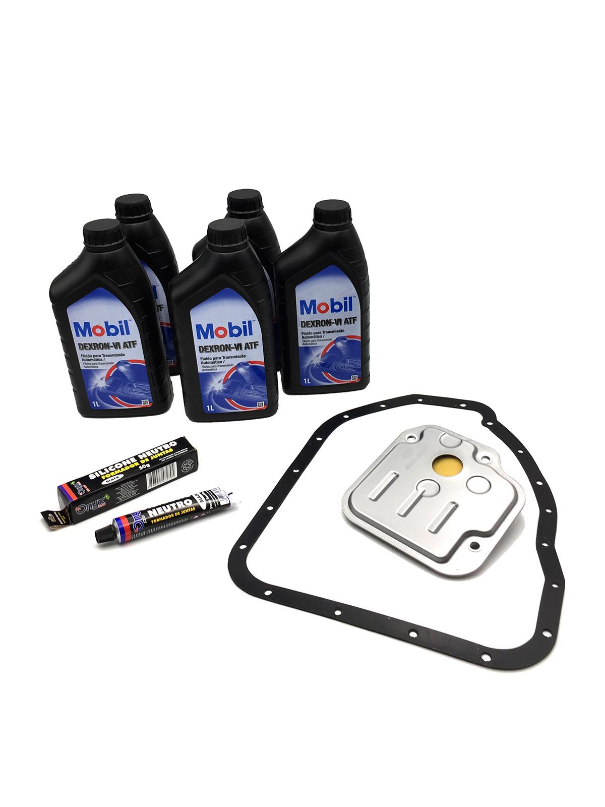 Kit Troca de Óleo Mobil Dexron VI (05 Lts.) com Filtro de Óleo - Câmbio A4CF1   A4CF2   A4CF0 - Kia e Hyundai