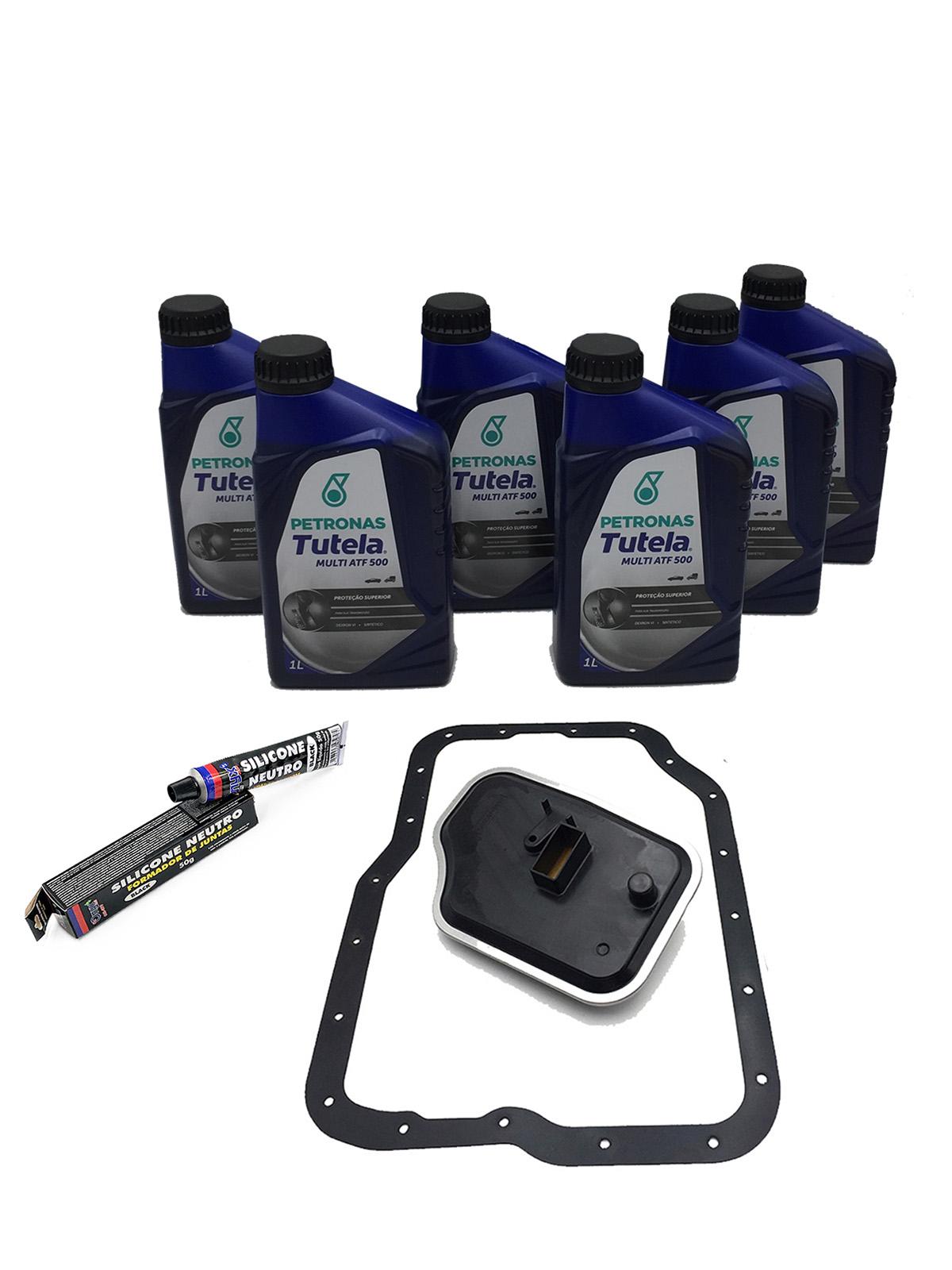 Kit Troca de Óleo Petronas Tutela Multi ATF 500 Dexron VI (06 Lts.) com Filtro de Óleo - Câmbio 4F27E  - Ford