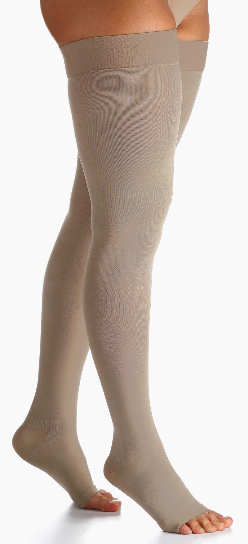 Meia de Compressão Essencial Conforto - Meia coxa - 30-40 mmHg - Aberta - Natural Escuro