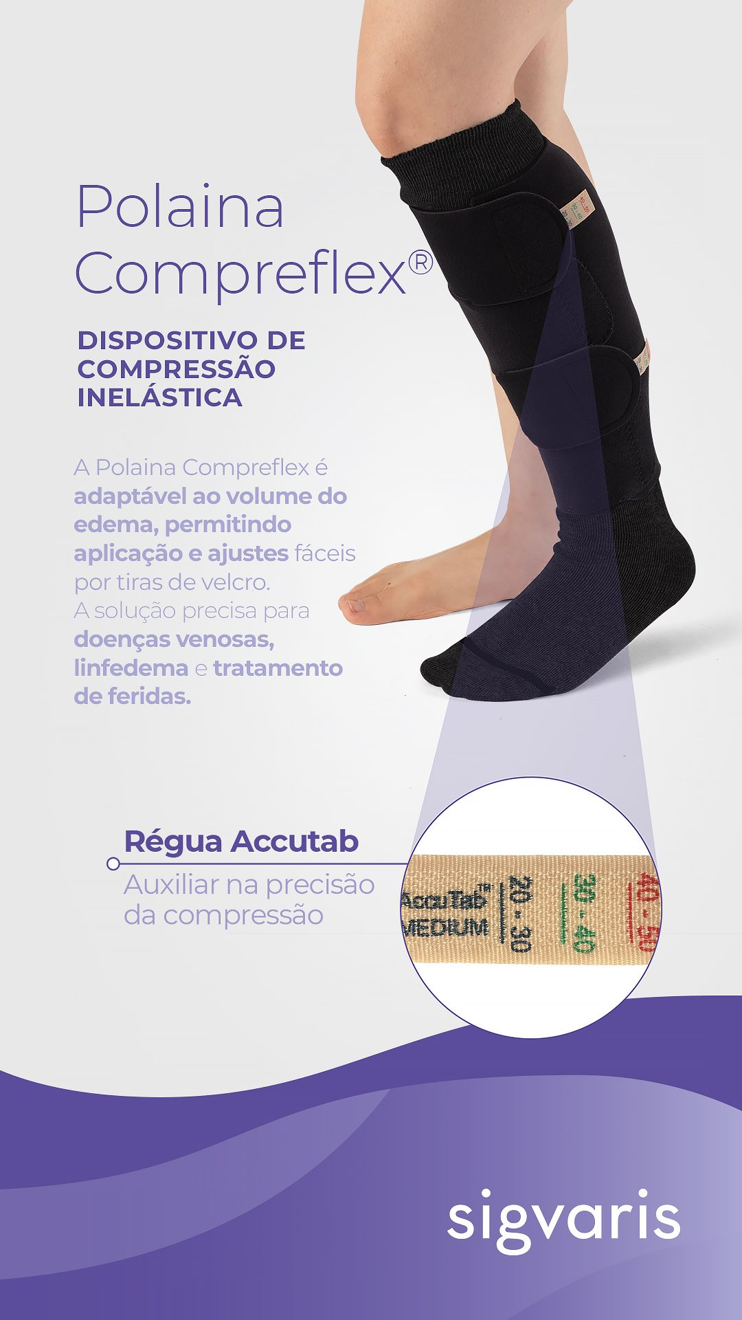 Polaina Compreflex - Dispositivo de compressão Inelástica - Sigvaris