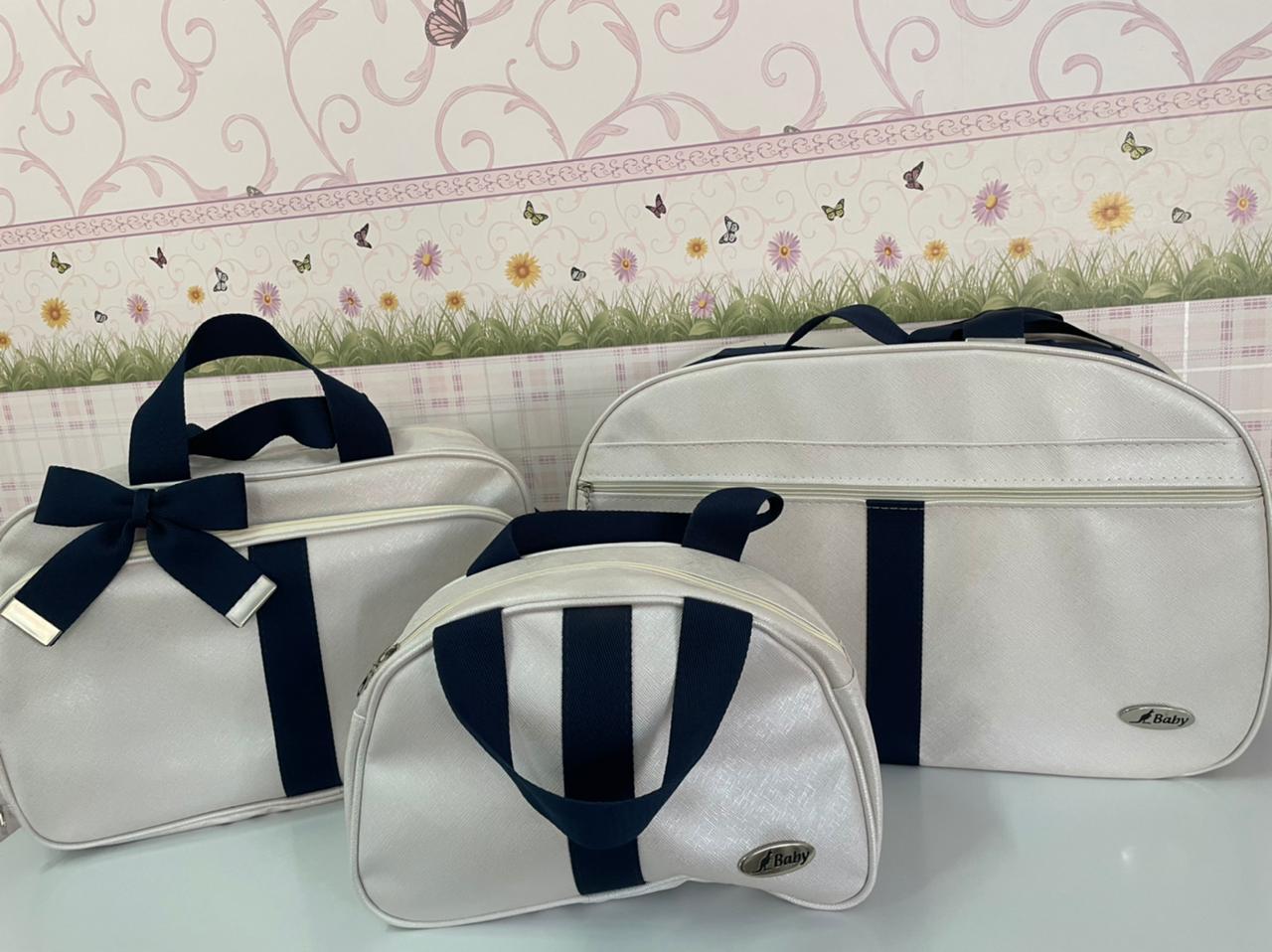 Kit de malas Premium Rosa com faixa azul marinho