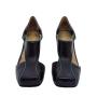 Sapato Salto MZQ Preto com Verde- cod:6001