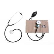 Conjunto Adulto Aparelho de Pressão Cinza em Brim e Metal + Estetoscópio Unisson (preto) - P.A.MED - Código: CJPA300