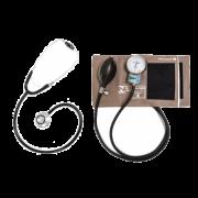 Conjunto Adulto Aparelho de Pressão Cinza em Brim e Velcro + Estetoscópio Duosson (Preto) - P.A.Med - Cód: CJPA105
