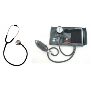 Conjunto Adulto Aparelho de Pressão - Nylon/Fecho de Contato + Estetoscópio Master Standard Preto - BIC - Cód: CJ083