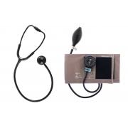 Conjunto Esfigmomanômetro Brim com Fecho de Contato e Estetoscópio Duplo - BIC - Cód: CJ0116