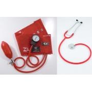 Conjunto Esfigmomanômetro e Estetoscópio Unisson (Vermelho) INNOVA - BIC - Cód: CJ0314