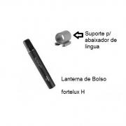 Lanterna Médica fortelux® H XL 2.5 V, preta c/ suporte p/ Abaixador de Língua - RIESTER - Cód: R5099