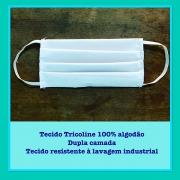 Máscara Lavável Tricoline 100% Algodão Dupla Camada (50pcs) - Cód: SPA-V11-11100AG