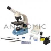 Microscópio Biológico Monocular com Aumento 40x até 640x e Iluminação a LED - ANATOMIC - Cód: TIM-600