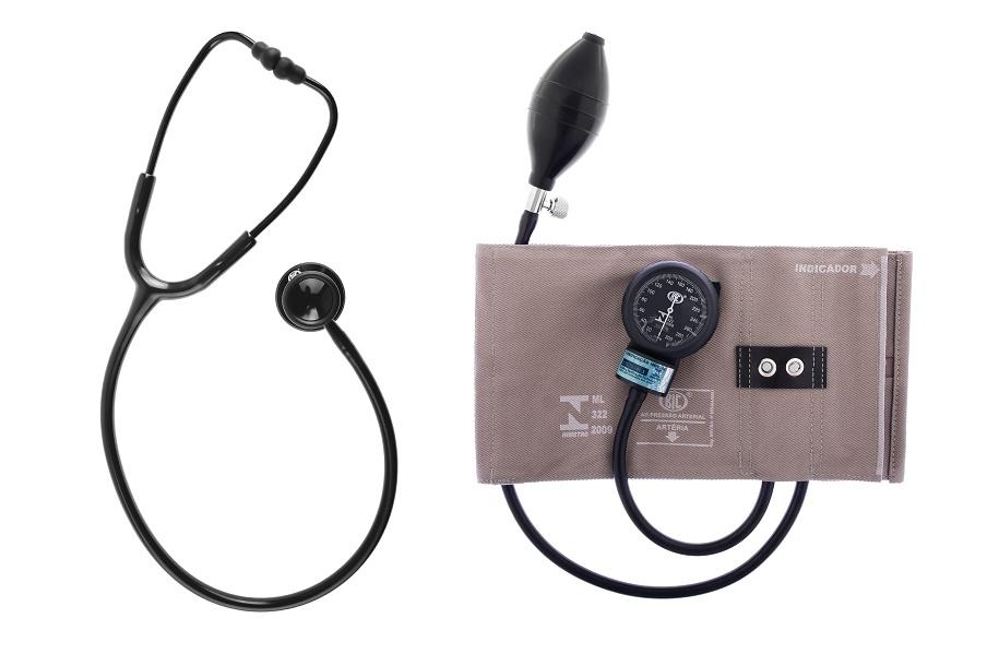 Conjunto Esfigmomanômetro Brim Metal e Estetoscópio Duplo - BIC - Cód: CJ0105