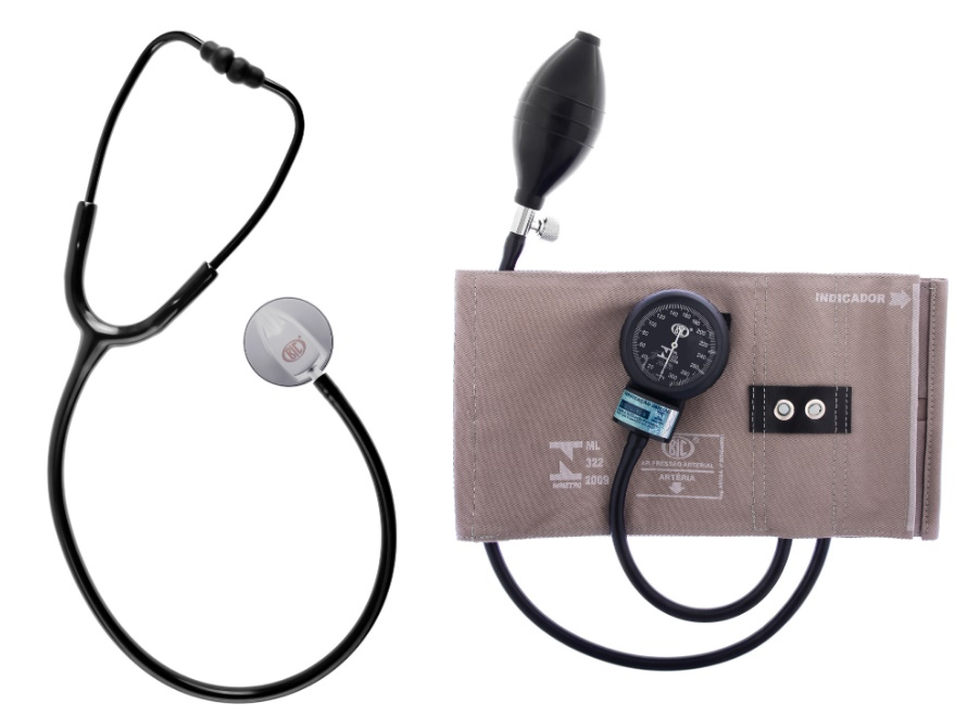 Conjunto Esfigmomanômetro Brim Metal e Estetoscópio Standard Adulto - Preto - BIC - Cód: CJ0113