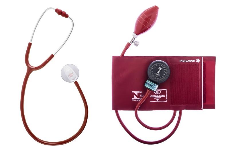 Conjunto Esfigmomanômetro Fecho de Contato + Estetoscópio Adulto Standard (Várias Cores) - BIC - Cód: CJ04
