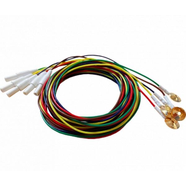 Eletrodo para Eletroencefalografia-1,52M-plugue fêmea 1,5mm TP (touch proof)-(5 unid)-MAXXIGOLD - Cód: SPM-PV 1010-13