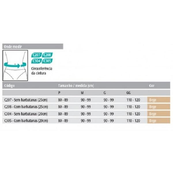 Faixa Abdominal 25cm (Com Barbatanas) - Bege - CHANTAL - Cód: C208