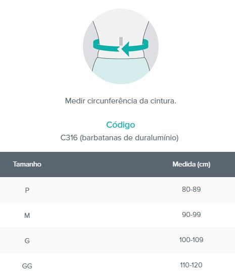 Faixa Colete - 25cm - Barbatanas de Duralumínio - Bege - CHANTAL - Cód: C316