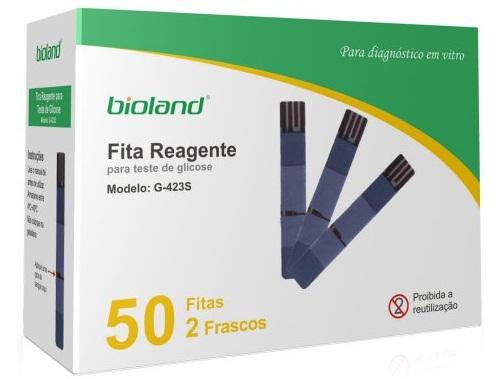Fita para Glicosímetro  (Cx C/ 50 Unidades) - BIOLAND - Cód: G423S