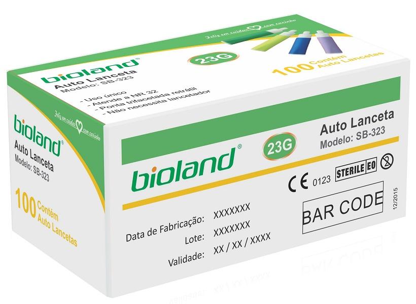 Lanceta Auto Retrátil Calibre 23G - Modelo SB-323 - BIOLAND - Cód: SB323