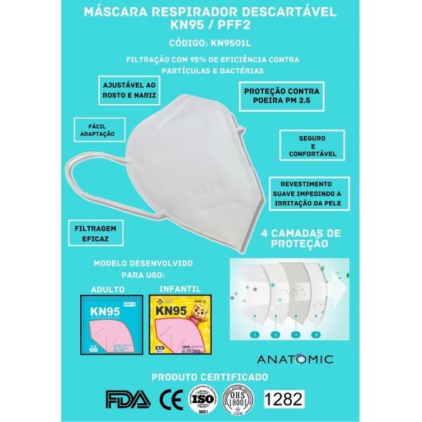 Mascara Respirador Descartável KN95/PFF2 (1000 Unidades) - Cód: KN9501L