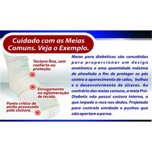 Meia Ortopédica p/ Proteção Pró-Diabetic (CANO CURTO - Azul) - Ortho Pauher - Cód: SG-713-A