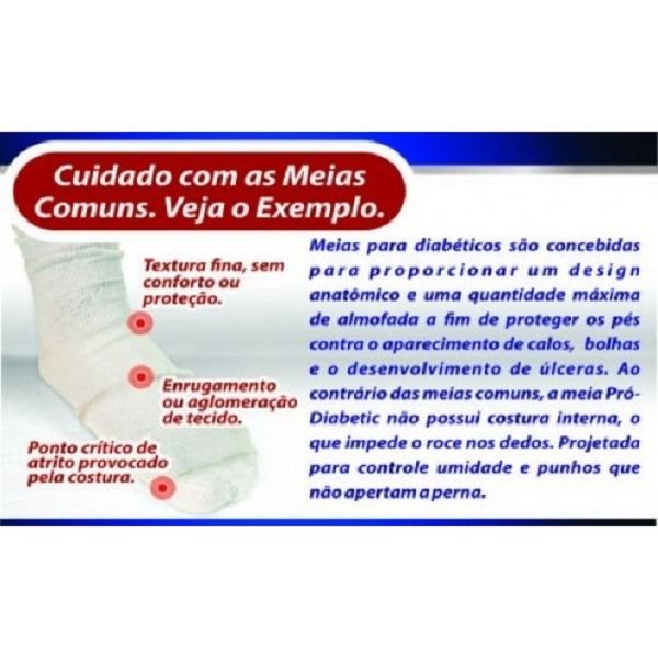 Meia Ortopédica p/ Proteção Pró-Diabetic (CANO CURTO - Rosa) - Ortho Pauher - Cód: SG-713-R