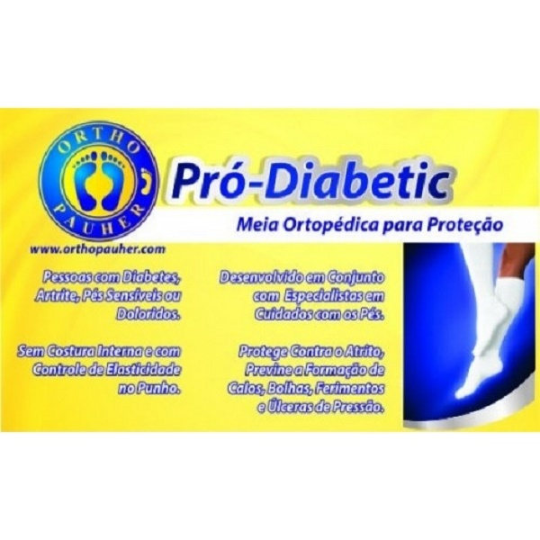 Meia Ortopédica p/ Proteção Pró-Diabetic (CANO Longo - Branco) - Ortho Pauher - Cód: SG-715-B