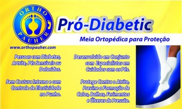 Meia Ortopédica p/ Proteção Pró-Diabetic (CANO Médio - Azul) - Ortho Pauher - Cód: SG-714-A
