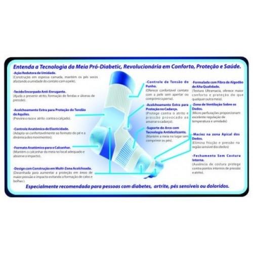 Meia Ortopédica p/ Proteção Pró-Diabetic (CANO Médio - Preto) - Ortho Pauher - Cód: SG-714-P