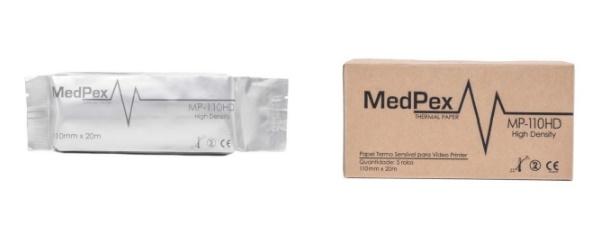 Papel termossensível para Ultrassom - MedPex - Caixa com 05 rolos - Tam 110 mm x 20m - Cód: MP-110HD