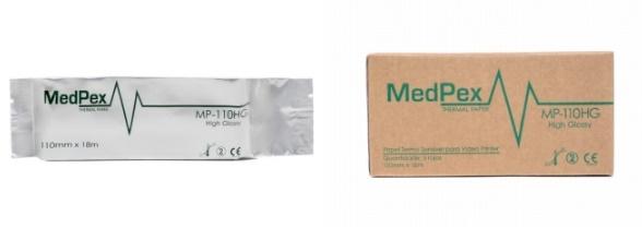 Papel termossensível para Ultrassom - MedPex - Caixa com 05 rolos - Tam 110mm x 18m - Cód: MP-110HG