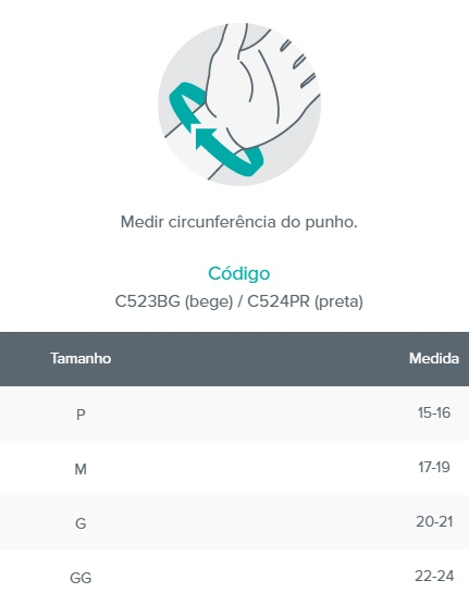 Tala para Punho (Dedos livres - Bilateral) - Bege - CHANTAL - Cód: C523