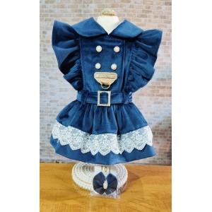 Vestido Pet Veludo Luxo Dudog - Azul Marinho