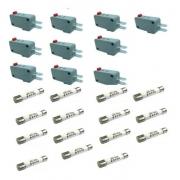 Kit 15 Fusivel 20a + 10 Micro Chave 3 Terminais