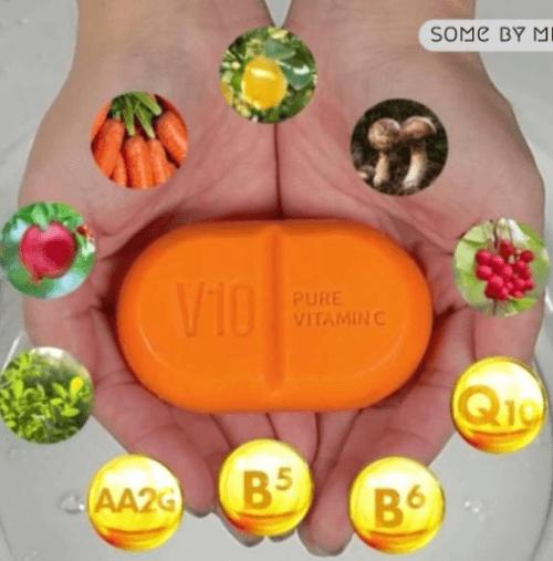 Sabonete Facial Pure Vitamin C V10 Cleansing Bar - Some By Mi