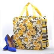 Bolsa Necessaire Sapato Viagem 6 Pares Sapateira Couro Amarela Floral