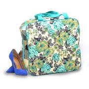 Bolsa Necessaire Sapato Viagem 6 Pares Sapateira Floral Verde