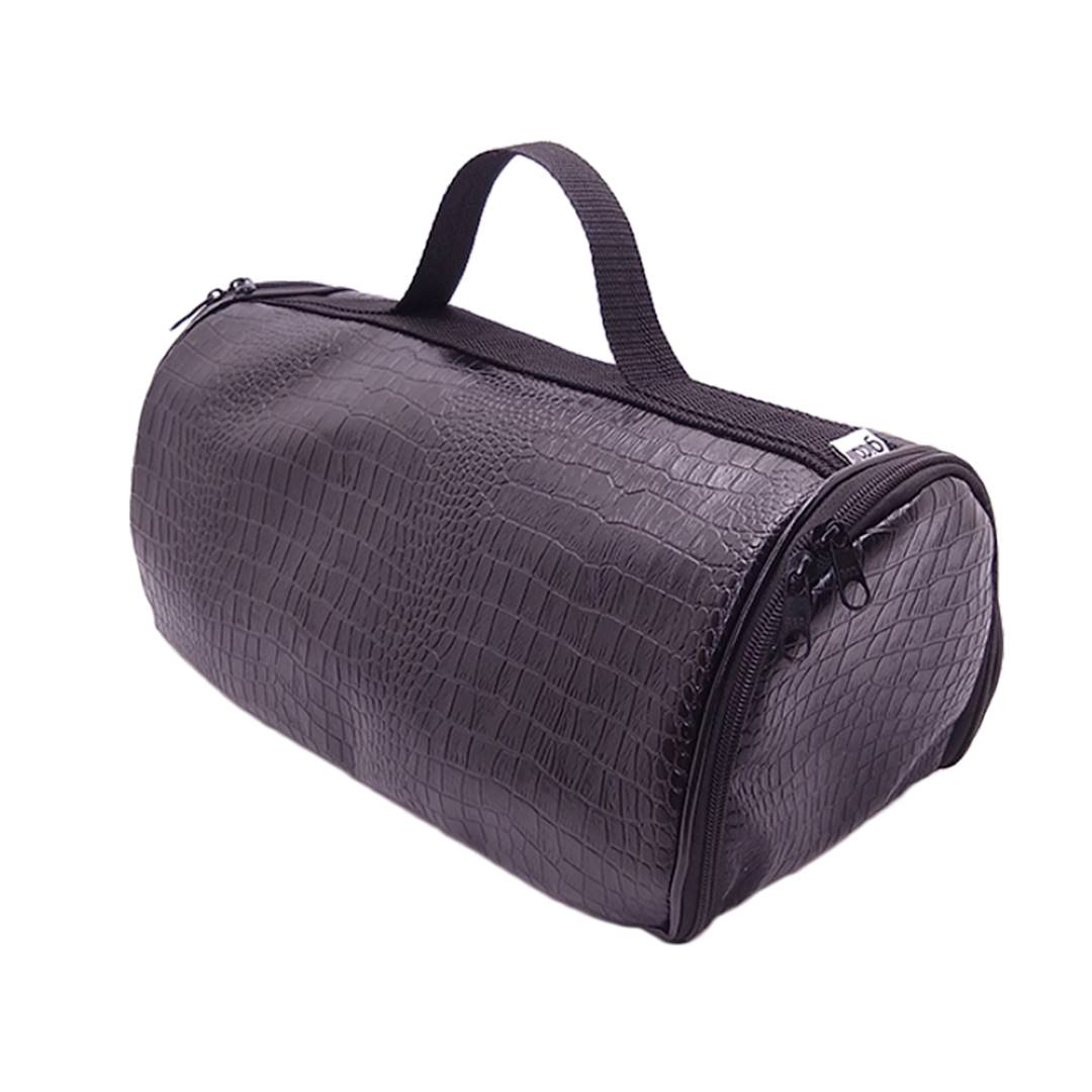 Bolsa Bag Porta Vinho Triplo Couro Crocodilo Preto
