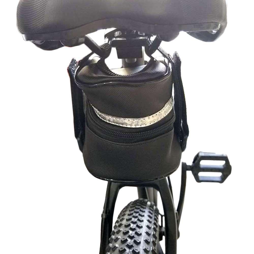 Bolsa Bag Selim Bicicleta Preta com faixa Refletiva