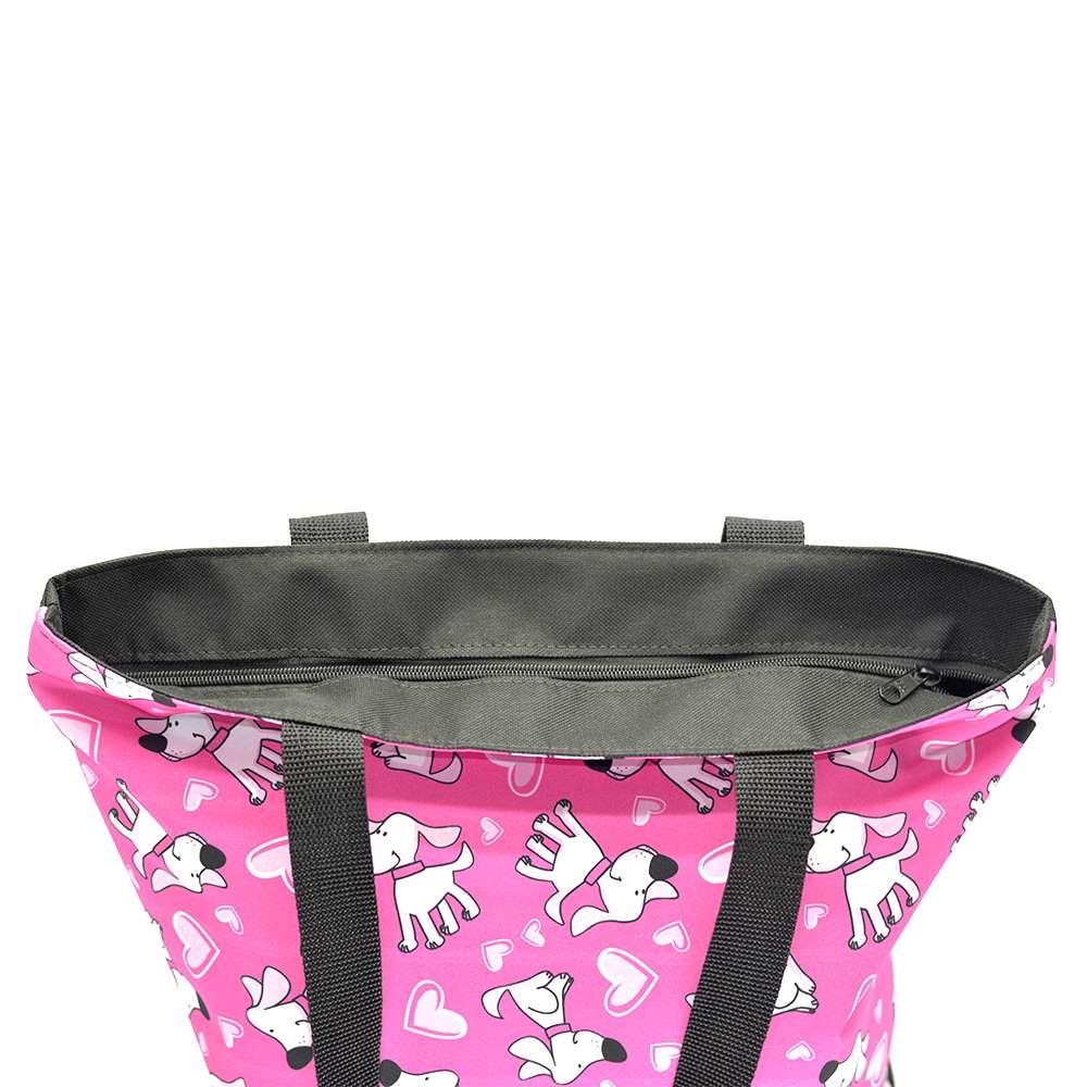 Bolsa de Ombro Passeio com Chaveiro Pets Cachorrinhos Rosa G