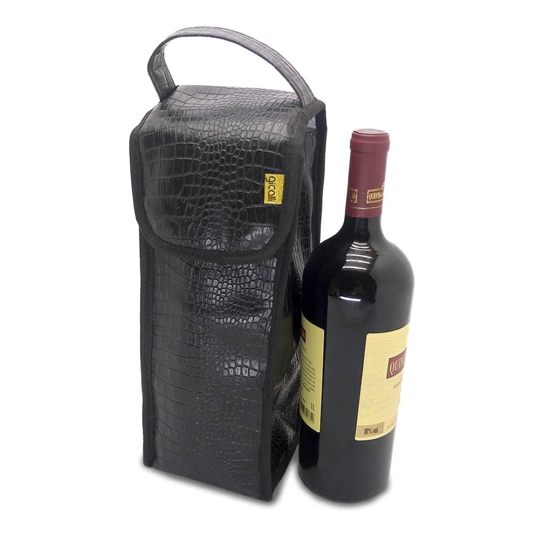 Bolsa Porta Vinho Couro Crocodilo Térmica